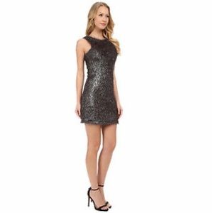 French Connection Tinsel Treat Dress Silver